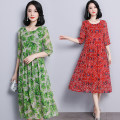 Dress Summer 2021 Green, red L,XL,2XL,3XL,4XL,5XL Mid length dress singleton  elbow sleeve commute Crew neck Loose waist Decor Socket Big swing routine Others 30-34 years old Type A lady Lace up, bandage, print R0320K801 51% (inclusive) - 70% (inclusive) Chiffon polyester fiber