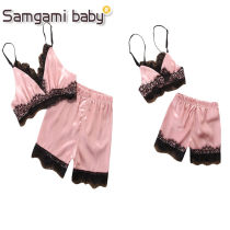 suit SAMGAMI BABY 18814 parent child dress S M L XL 80cm 90cm 100cm 110cm 120cm female summer Europe and America Sleeveless + pants 2 pieces routine