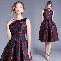 Dress Autumn of 2019 Decor S,M,L,XL,2XL singleton  Sleeveless commute Crew neck middle-waisted Decor A-line skirt Type A lady