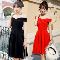 Dress Summer of 2018 Red, black S,M,L,XL Mid length dress singleton  Short sleeve commute High waist Solid color Socket A-line skirt other Type A Other / other lady 9926#