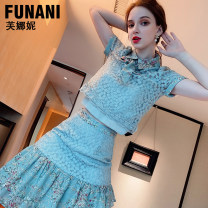 Dress Summer 2021 Blue (pre-sale 20 days) S M L XL Short skirt Two piece set Short sleeve commute Crew neck High waist Solid color Socket A-line skirt routine 25-29 years old Phoenicia Lace F2120092 More than 95% Lace polyester fiber Polyester 100% Pure e-commerce (online only)