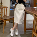 skirt Spring 2021 XS,S,M,L,XL The primary color is dark blue, washed light blue, raw pulp is off white, graphite black gray Mid length dress commute High waist Solid color Type H 25-29 years old More than 95% cotton