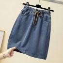 skirt Summer 2020 L [100-120 Jin recommended], XL [120-140 Jin recommended], 2XL [140-160 Jin recommended], 3XL [160-180 Jin recommended], 4XL [180-200 Jin recommended] blue Short skirt commute Solid color 5-4 Korean version