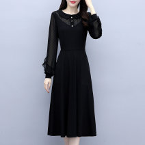 Women's large Spring 2021 black M [90-105 Jin], l [105-115 Jin], XL [115-130 Jin], 2XL [130-145 Jin], 3XL [145-160 Jin], 4XL [160-180 Jin], 5XL [180-200 Jin] Dress Fake two pieces commute Self cultivation moderate Socket Long sleeves Solid color Korean version Polo collar Medium length routine 1-29Y