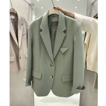 suit Spring 2020 S,M,L,XL,2XL Long sleeves Medium length easy tailored collar Single breasted commute routine Solid color Pockets, buttons, stitching