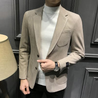 man 's suit Dark grey apricot T-Nnc Fashion City routine Autumn of 2019 Self cultivation Double breasted Other leisure Back middle slit Exclusive payment of tmall youth Long sleeves autumn routine Exquisite Korean style Casual clothes Flat lapel Straight hem Solid color Digging bags with lids