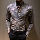 shirt Fashion City T-Nnc S M L XL 2XL 3XL Black grey Khaki routine Button collar Long sleeves Self cultivation Other leisure Four seasons CS-8998 youth Polyester fiber 64.7% viscose fiber (viscose fiber) 32.3% polyurethane elastic fiber (spandex) 3% Exquisite Korean style 2019 Plants and flowers