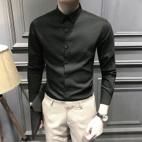 shirt Fashion City T-Nnc S M L XL 2XL 3XL routine Pointed collar (regular) Long sleeves Self cultivation Other leisure autumn youth Exquisite Korean style 2017 Solid color Spring 2017 No iron treatment polyester fiber Button decoration Pure e-commerce (online only) 30% (inclusive) - 49% (inclusive)