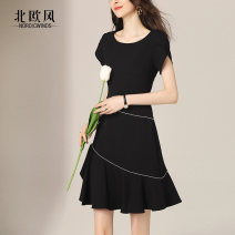 Dress Summer 2020 White payment within 4 days black payment within 4 days S M L XL 2XL Mid length dress singleton  Short sleeve commute Crew neck High waist Solid color zipper A-line skirt routine Others 25-29 years old Type A Nordic Winds literature Lotus leaf edge NW19B8755 More than 95% Chiffon