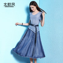 Dress Summer 2020 blue S M L XL 2XL Mid length dress singleton  Short sleeve street Crew neck High waist Solid color Socket A-line skirt routine 30-34 years old Type A Nordic Winds Lace up with ruffles NW18A1979 More than 95% Denim silk Mulberry silk 100% Pure e-commerce (online only)