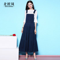 Dress Spring 2021 Blue / free white trumpet sleeves Blue / free white crew neck short sleeves XS S M L XL 2XL 3XL Mid length dress Two piece set elbow sleeve commute One word collar High waist Solid color zipper Big swing pagoda sleeve straps 30-34 years old Type A Nordic Winds lady NW18B2607-1 Denim