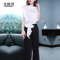 Casual pants S M L XL Spring 2020 trousers Jumpsuit Natural waist commute routine 30-34 years old 91% (inclusive) - 95% (inclusive) Nordic Winds polyester fiber Ol style Bandage polyester fiber Polyester 93% polyurethane elastic fiber (spandex) 7% Pure e-commerce (online only)