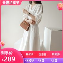 Dress Summer 2020 white S M L Mid length dress singleton  elbow sleeve commute V-neck High waist Solid color A-line skirt puff sleeve 25-29 years old Jiazhuli Korean version pocket Q806 More than 95% cotton Cotton 100% Pure e-commerce (online only)