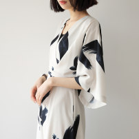 Dress Summer of 2019 Ink color S M L Mid length dress singleton  three quarter sleeve commute V-neck High waist Abstract pattern zipper raglan sleeve 25-29 years old Jiazhuli Retro printing Q662-1 More than 95% polyester fiber Polyester 100% Pure e-commerce (online only)