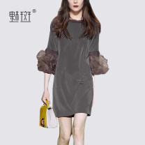 Dress Summer 2020 grey S M L XL XXL Mid length dress singleton  three quarter sleeve street Crew neck middle-waisted Solid color Socket One pace skirt routine Others 30-34 years old My bun 81% (inclusive) - 90% (inclusive) polyester fiber Europe and America