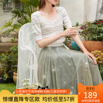 skirt Spring 2021 S M L Lotus green Mid length dress commute High waist A-line skirt Solid color 25-29 years old A811067 81% (inclusive) - 90% (inclusive) Fragrant shadow nylon lady Polyamide fiber (nylon) 89.9% others 10.1% Same model in shopping mall (sold online and offline)