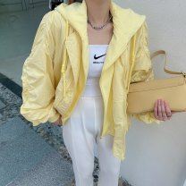 short coat Spring 2021 Average size Blue, yellow, orange Long sleeves routine routine Fake two pieces Straight cylinder commute routine Hood zipper Solid color Other / other 96% and above pocket polyester fiber polyester fiber