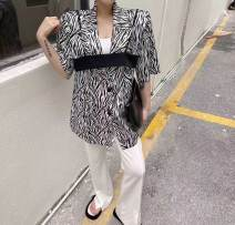 suit Summer 2021 Black, green, blue, pink Average size elbow sleeve Medium length Straight cylinder tailored collar double-breasted commute puff sleeve stripe 96% and above polyester fiber Other / other Button, print