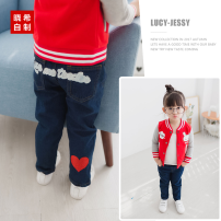 trousers Xiaoxi female spring and autumn trousers Korean version Jeans Leather belt middle-waisted Don't open the crotch Other 100% other 2, 3, 4, 5, 6, 7, 8, 9, 10 years old