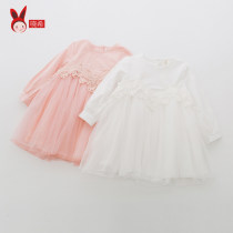 Dress White pink Tag 90cm Tag 100cm Tag 110cm Tag 120cm Tag 130cm Xiao Xi Cotton 90% Other 10% Female Spring and autumn princess Long sleeve Stitching Cotton cloth *80259XYK0403 Pure color Class B