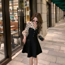 Dress Summer 2021 black S,M,L Mid length dress Fake two pieces Long sleeves commute V-neck High waist Socket A-line skirt routine Type A 6du shop Korean version 1LE2117 other