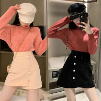 skirt Winter 2020 S,M,L Apricot, black Short skirt High waist A-line skirt 18-24 years old one point one seven