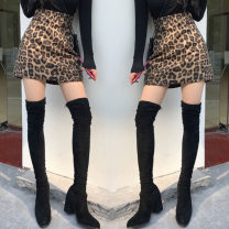 skirt Winter 2020 S,M,L khaki Short skirt High waist A-line skirt 18-24 years old twelve point two