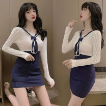 Dress Winter 2020 White and blue S,M,L Short skirt singleton  Long sleeves other High waist Solid color Socket One pace skirt routine Others 18-24 years old Splicing, three-dimensional decoration twelve point three one 71% (inclusive) - 80% (inclusive) cotton