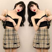 skirt Winter 2020 S,M,L,XL Yellow plaid skirt Short skirt Versatile High waist A-line skirt lattice 18-24 years old twelve point three one