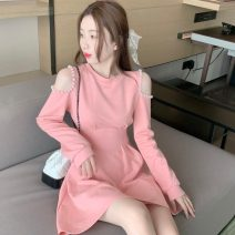 Dress Spring 2021 White, pink S, M singleton  commute Crew neck High waist Solid color A-line skirt 18-24 years old Type A Korean version Three point nine