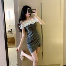 Dress Summer 2021 grey S,M,L Short skirt Three piece set Short sleeve commute One word collar High waist Solid color camisole 18-24 years old Ol style 30% and below