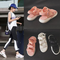 Sandals 35 36 37 38 39 40 Pink White Black Other / other Elastic cloth Fish mouth Flat bottom Middle heel (3-5cm) Summer of 2018 Velcro leisure time Solid color Adhesive shoes Youth (18-40 years old) motion Ankle strap Low Gang YTJ-101 Roman shoes