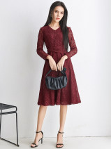 Dress Spring 2021 Black, red XS,S,M,L,XL,2XL,3XL,4XL,5XL,6XL,F Middle-skirt singleton  Long sleeves V-neck middle-waisted Solid color zipper routine 30-34 years old 9 Charms