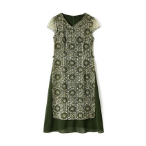 Dress Summer 2021 Dark green, blue L,2XL,M,3XL,5XL,XL,XS,6XL,4XL,S,F singleton  Short sleeve V-neck Socket routine 30-34 years old 9 Charms