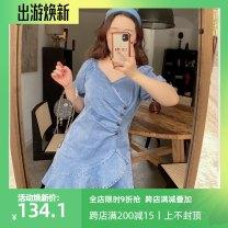 Women's large Spring 2021 blue Large L, large XL, large XXL, large XXL, large XXXL Dress singleton  commute thin Socket Short sleeve Korean version 100% of large size