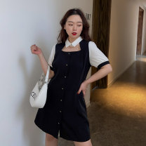 Women's large Spring 2021 black Large L, large XL, large XXL, large XXL, large XXXL Dress singleton  commute thin Socket Long sleeves Korean version 100% of large size