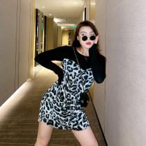 Women's large Autumn 2020 Short Sleeve Black, Long Sleeve Black Large L, large XL, large XXL, large XXL, large XXXL Dress commute Short sleeve Korean version Crew neck 100% of large size Medium length