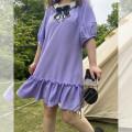 Women's large Spring 2021 violet Large L, large XL, large XXL, large XXL, large XXXL Dress singleton  commute thin Socket Short sleeve Korean version 100% of large size