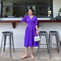 Women's large Spring 2021 Black, purple Large XL, large XXL, large XXL, large XXXXL, large XXXXL Dress singleton  commute thin Socket Short sleeve Korean version