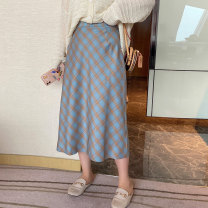 Women's large Spring 2021 Main color blue grid, the second batch of main color blue grid will be delivered in 7-16 days Large XL, large XXL, large XXL, large XXXXL, large XXXXL skirt singleton  commute thin Korean version