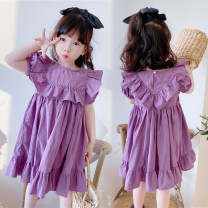 Dress female Other / other Cotton 100% summer princess Short sleeve Solid color Pure cotton (100% cotton content) Lotus leaf edge Class B 18 months, 2 years old, 3 years old, 4 years old, 5 years old, 6 years old, 7 years old, 8 years old, 9 years old Chinese Mainland