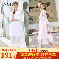 Dress Summer of 2019 Porcelain white (inside), rice white (1197053), rice white (11970233), description 165/88A/L,.,155/80A/S,160/84A/M Mid length dress singleton  three quarter sleeve commute Crew neck middle-waisted Solid color Socket A-line skirt pagoda sleeve 18-24 years old Type A Amii other