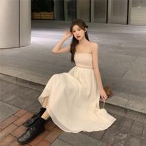 Dress Spring 2021 Beige skirt, blue sweater, black sweater S. M, l, average size Miniskirt singleton  Long sleeves commute Korean version