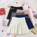 skirt Summer of 2019 S,M,L Dark blue, gray, white, black, pink Short skirt High waist Pleated skirt Solid color