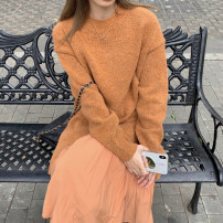 sweater Winter 2020 Average size Blue sweater, brown sweater, blue skirt, brown skirt Long sleeves Socket Two piece set Super short other 31% (inclusive) - 50% (inclusive) Crew neck thickening commute routine Solid color Straight cylinder 18-24 years old