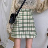 skirt Summer 2020 S,M,L Light green grid, blue grid Short skirt Versatile High waist A-line skirt lattice Type A 18-24 years old
