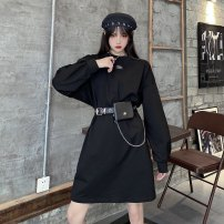 Dress Winter 2020 black Average size Miniskirt singleton  Long sleeves commute Crew neck Loose waist Decor other other puff sleeve Others Type H literature Embroidery 30% and below knitting cotton