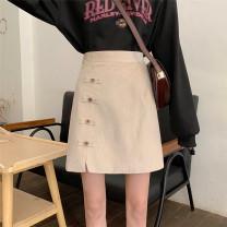 skirt Spring 2020 S,M,L Black, khaki Short skirt commute High waist Type A 18-24 years old Korean version