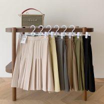 skirt Summer 2020 S,M,L Army green, apricot, light brown, light yellow, gray, black Short skirt commute High waist Pleated skirt Solid color 30% and below polyester fiber Korean version