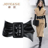 Belt / belt / chain top layer leather Black narrow red wide black wide female Waistband grace Single loop Middle aged youth Smooth button Geometric pattern soft surface 11cm alloy Smooth body inlaid heavy line decorative frosted pattern Joyase / Zhuoyi ZF190 85cm 90cm 95cm 100cm 106cm Spring of 2019
